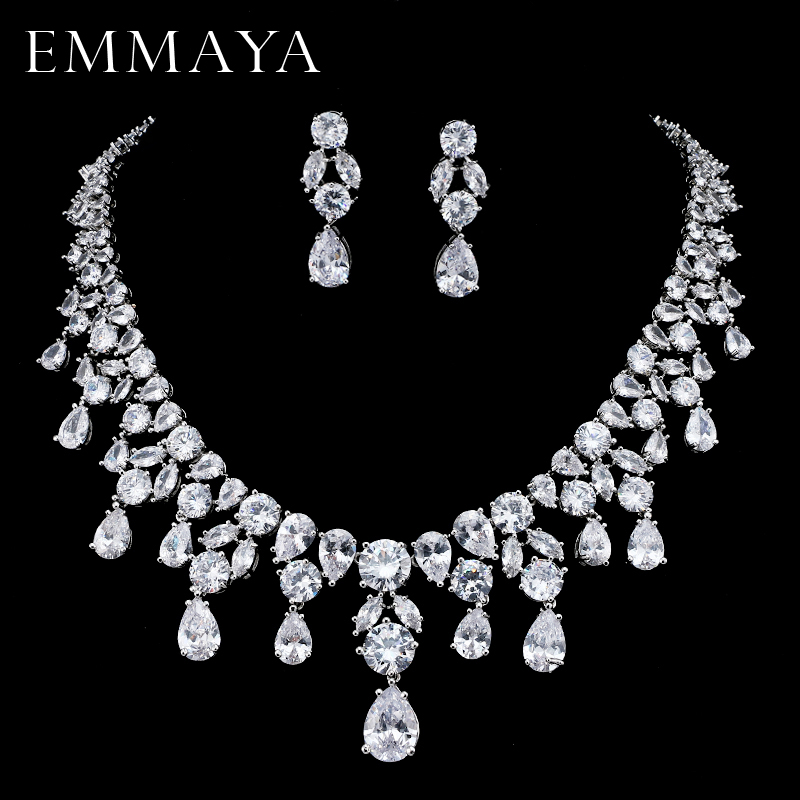 EMMAYA Brand New Jewelry Set For Woman Long Necklace Pendant Crystal Earrings Wedding Beads Fashion Jewelry GiftEMMAYA Brand New Jewelry Set For Woman Long Necklace Pendant Crystal Earrings Wedding Beads Fashion Jewelry Gift