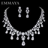 EMMAYA Brand New Jewelry Set For Woman Long Necklace Pendant Crystal Earrings Wedding Beads Fashion Jewelry Gift
