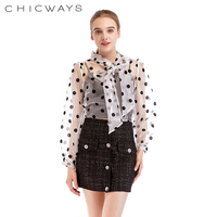 d1924f603 Chicways Women Black Polka Dot Tops Organza Bow Neck Blouse See Though  Loose Casual Hollow Out