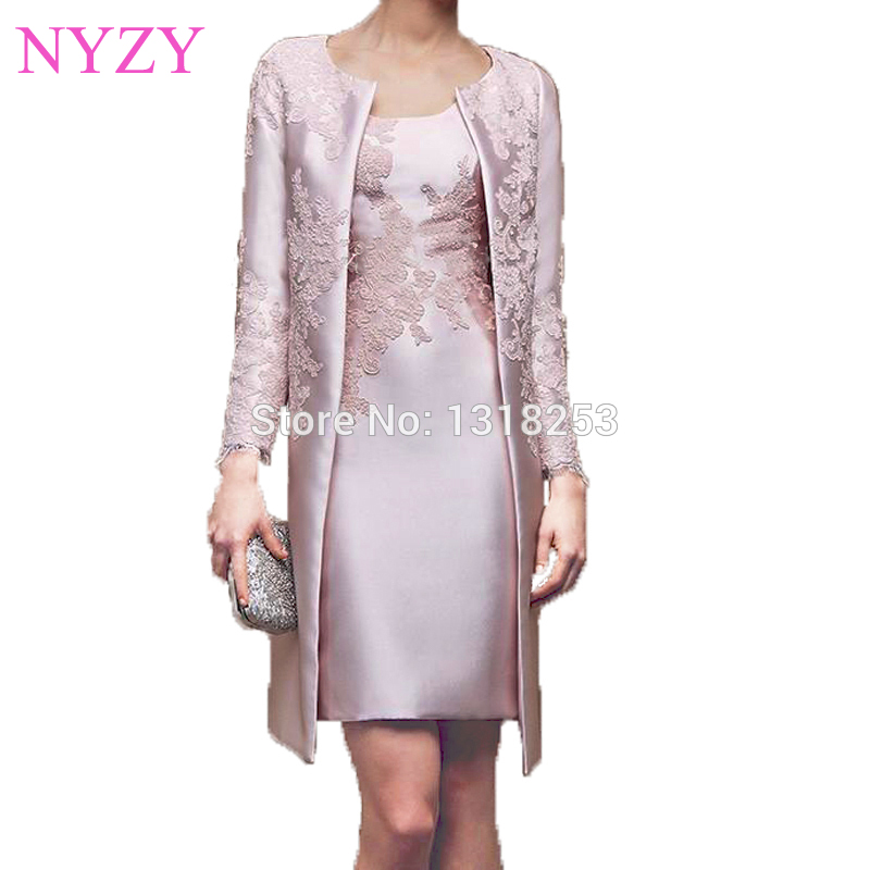 NYZY M2 Elegant Party Dress Long Sleeves Formal Dress Short Mother Of The Bride/Groom Dresses Outfits Suit With Jacket Coat 2019