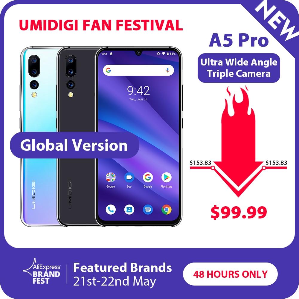 Version mondiale UMIDIGI A5 PRO Android 9.0 Octa Core 6.3 'FHD + goutte d'eau 16MP Triple caméra 4150 mAh 4 GB RAM 4G Smartphone celulaire