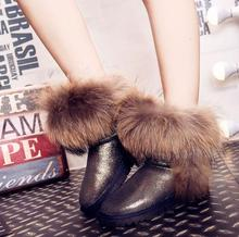 2016 Australia Women's Natural Real Fox Fur Snow Boots 100% Genuine Leather women Boots Female Winter Shoes