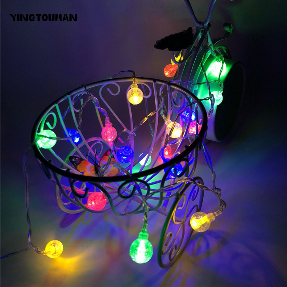 YINGTOUMAN Imitated Crystal 6m 40LED Battery Powered Lamp String Lights Christmas Holiday Wedding Outdoor Decoration Lights