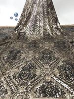 Black sequin lace fabric high quality african lace fabric 2019 embroidered tulle net lace french fabric for wedding