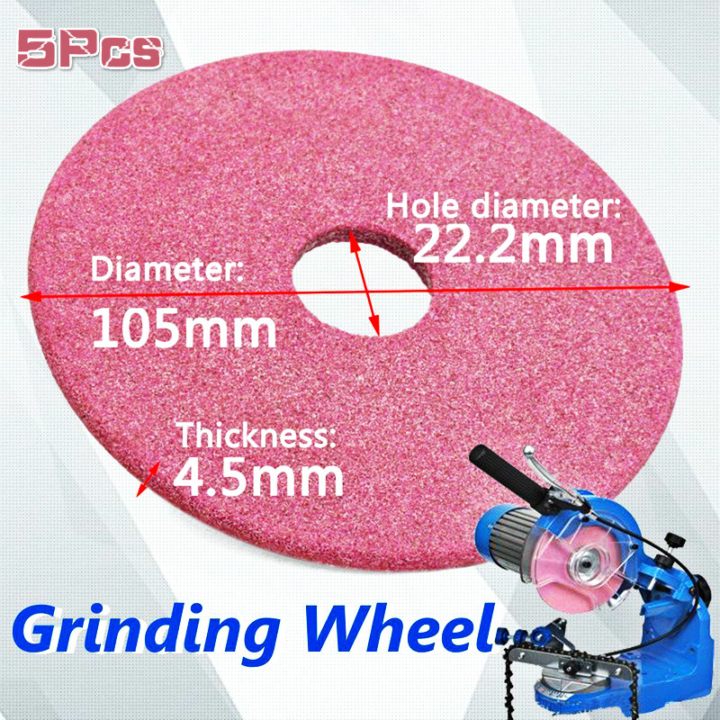 5Pcs 105x4.5mm Pink Non-woven Ceramic Grinding Wheel Disc For Chainsaw Sharpener Grinder 3/8