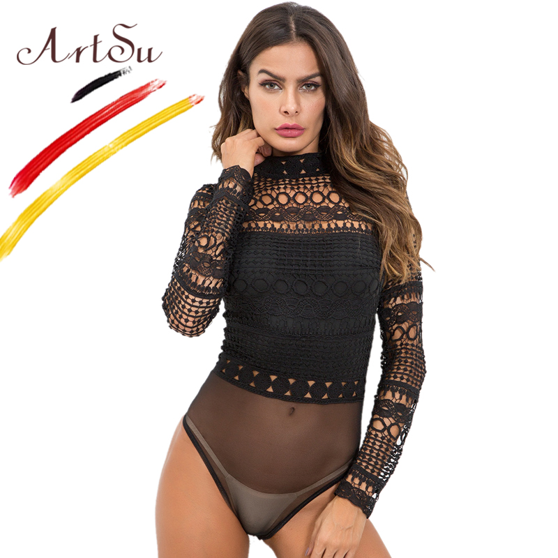 Women's Clothing New Fashion Women Turtleneck Bandage Hollow Out Black Bodysuit Skinny Spring Summer Long Sleeves Sexy Backless Bodysuits