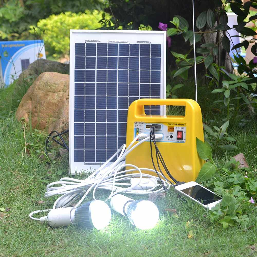portable home outdoor small dc 12v 10w solar panels charging generator power generation system 12v 3a batteries solar led light