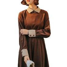 Мори девушка хлопок вельвет платье Демисезонный Для женщин Длинные рукава красивые длинные платья женские