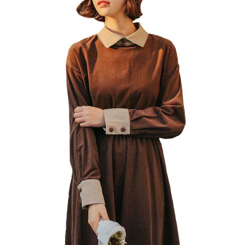 Mori Girl Cotton Corduroy Dress 2019 Spring Autumn Women Long Sleeved Sweet Long Dresses Female Casual Clothing