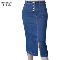 2017 Denim Skirt Women Slim Vintage Blue High Waist Pencil Skirt S 3XL Ladies Office Sexy