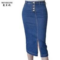 2017 denim rok vrouwen slanke vintage blauw hoge taille potlood rok S-3XL Dames Office Sexy TopAbove merk Lange Rok Jeans S-5XL