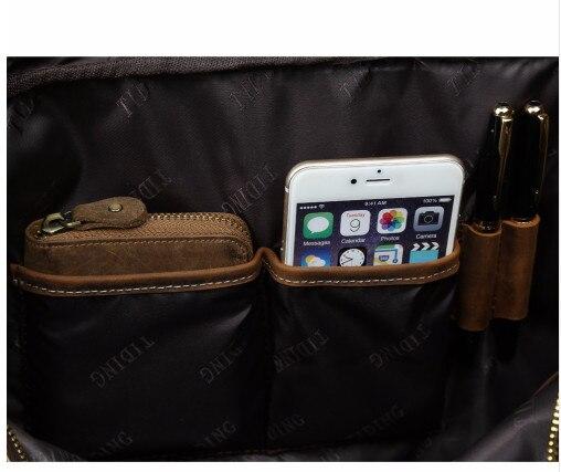 Herrenmode Designer handtaschen Hoher Qualität Leder Braun Leder Aktentasche Portfolio Männer 15,6 laptop Büro Messenger Taschen - 4