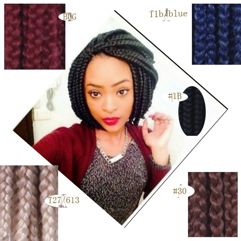 3X Crochet Bob Box Braids Hair Burgundy,T27/613,White+Grey