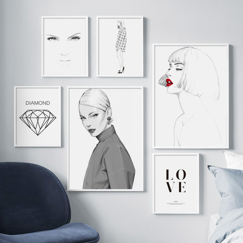 Fashion Woman Body Art Diamond Canvas Painting Nordic Posters And Prints Modern Wall Paintings Pictures For Living Room