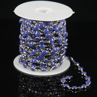 Fashion Rosary Dark Blue Lampwork Glass Flat Round Beads Chain Plated Silver Wire Wrapped Link Coin