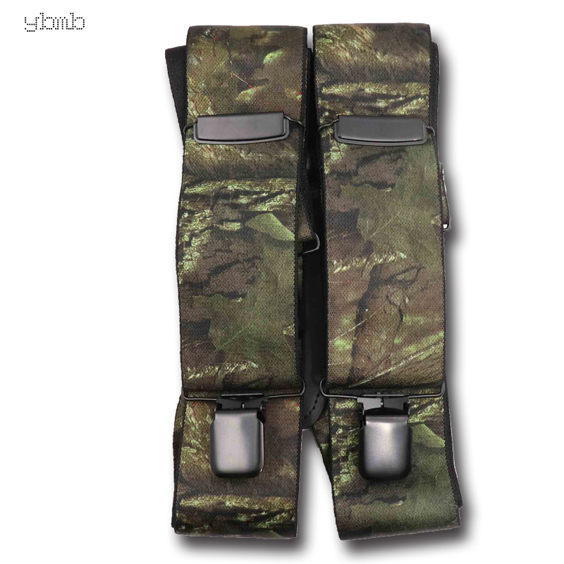 YBMB Fashion Shirt Suspenders Camouflage Print Elastic Tactical Belt X Shape 4 Gun Black Clips-on  Bretelles  Military 50mmwidth