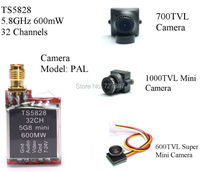5.8 GHz 600 mW 48 Canales Mini Wireless A/V de Transmisión (TX) TS5828 + 600TVL/700TVL/1000 TVL Cámara