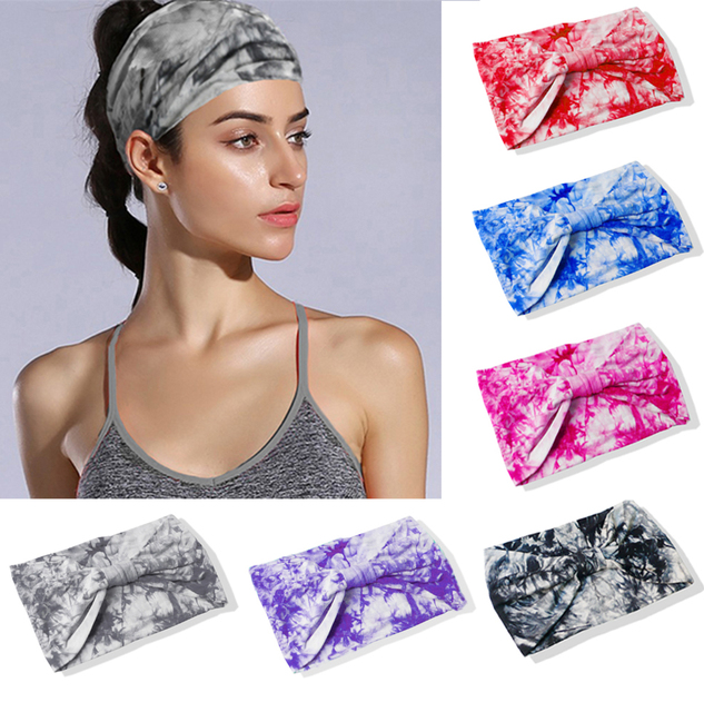 f10b5417a1f Tie Dye BOHO Wide Cotton Stretch Women Headband Fascinator Hair Accessories  Turban Headwear Bandage Hair Bands Bandana Headpiece