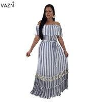 VAZN 2018 summer hot striped off the shoulder short sleeve dress women slash neck long dress ladies hollow out long dress SQ6008