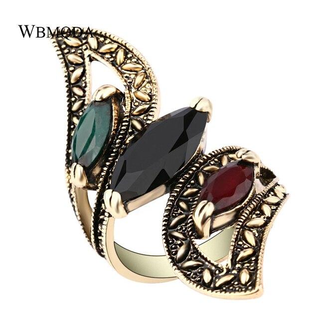 Vintage Boho Big Wings Ring Antique Gold Gemini Rings For Women Fashion Statemen