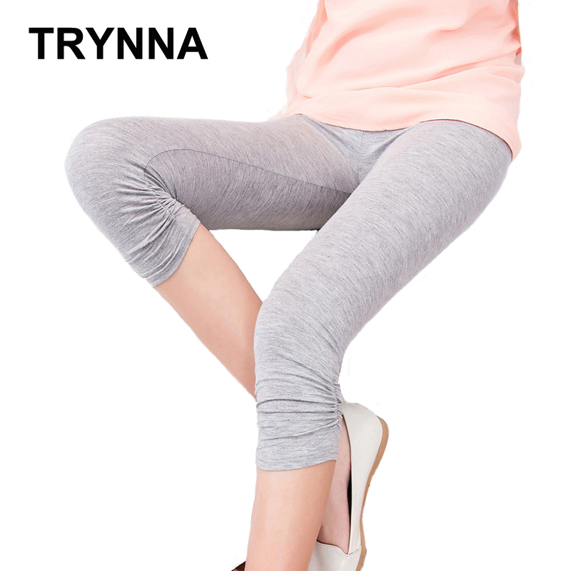 TRYNNA Women Candy Color Girl Summer Knee Length Legging Plus Size Elastic Cotton Legging