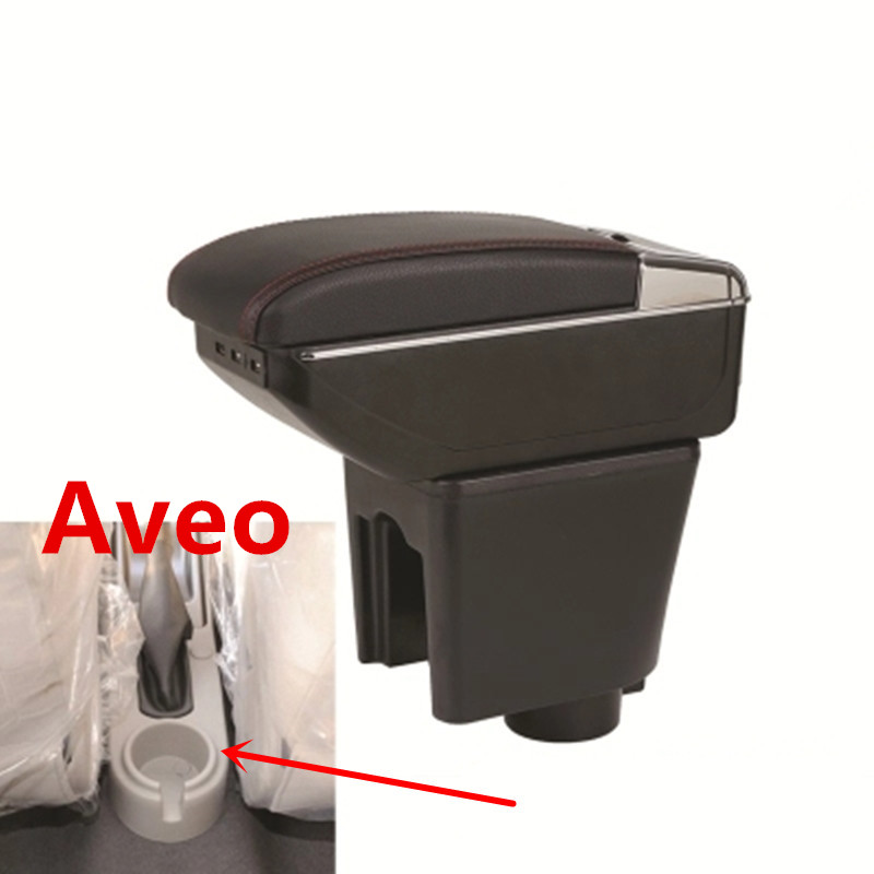 For Aveo T200 T250 T255 2002-2011 Rotatable Top Leather Center Console Storage Box Armrest Cup Arm Rest 2008 2009 2010