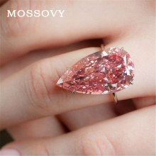 Mossovy Water Drop Pink Zircon Engagement Ring for Female Fashion Love Heart Rose Gold Wedding Rings for Women Jewelry(China)