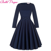 Belle Poque 2017 Robe Pinup Big Swing Long Sleeve 50s Vintage Dress Black Women Autumn Female