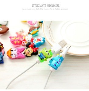 Image 4 - Anti fracture 10pcs/lot Cartoon USB cable Earphones Protector For iphone android cable Data Line Protection