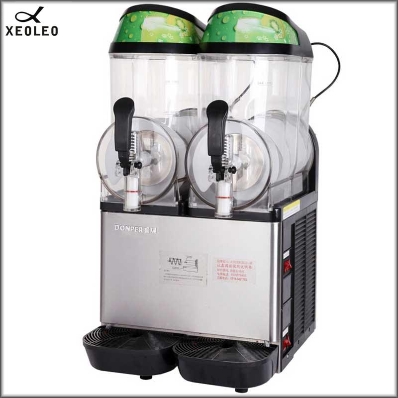 XEOLEO Double Tanks Slush Machine 12L*2 Stainless Steell Snow Melting Machine 220V Ice Cream Maker Cold Drinking Dispenser