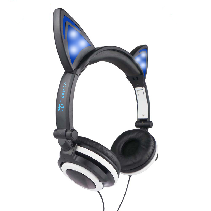 Teamyo Over-Ear Headphones with Glowing Ears Kids headphones for Girls Gaming Headset Headphone for Computer Mobile Phone MP3 PC foldable cat ear headphones gaming headset earphone with glowing led light for phone computer best halloween gift for girls kids