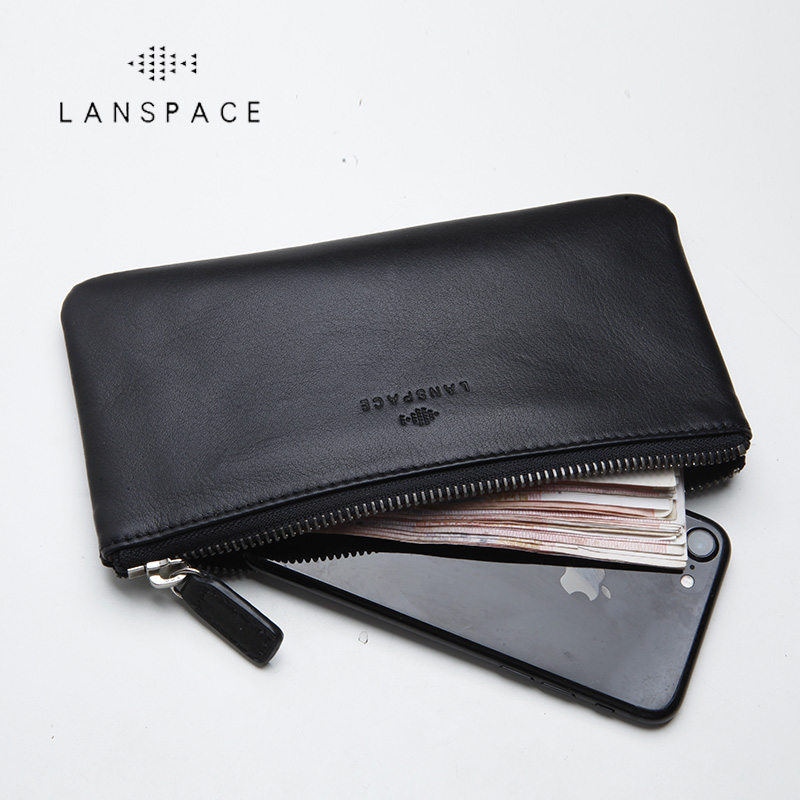 LANSPACE Men's Leather Wallet Brand Thin Purse Fashion Designer Coin Purses Holders