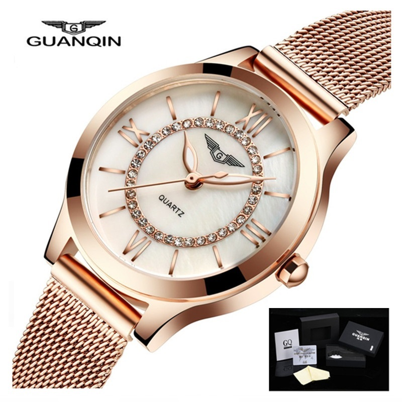 GUANQIN Women Watches Luxury Dress Quartz Watch Casual Gold Ladies Stainless Steel Bracelet Watch Female Clock relogio feminino 2017 luxury brand women watch stainless steel rhinestones bracelet quartz watches fashion ladies dress clock relogio feminino