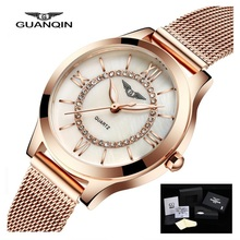 GUANQIN Women Watches Fashion Casual Quartz Watch Gold Women Bracelet Watch Stainless Steel Strap relogio feminino famous brand women watches 2016 guanqin tungsten steel waterproof quartz watch luxury women brand fashion watches relogio feminino
