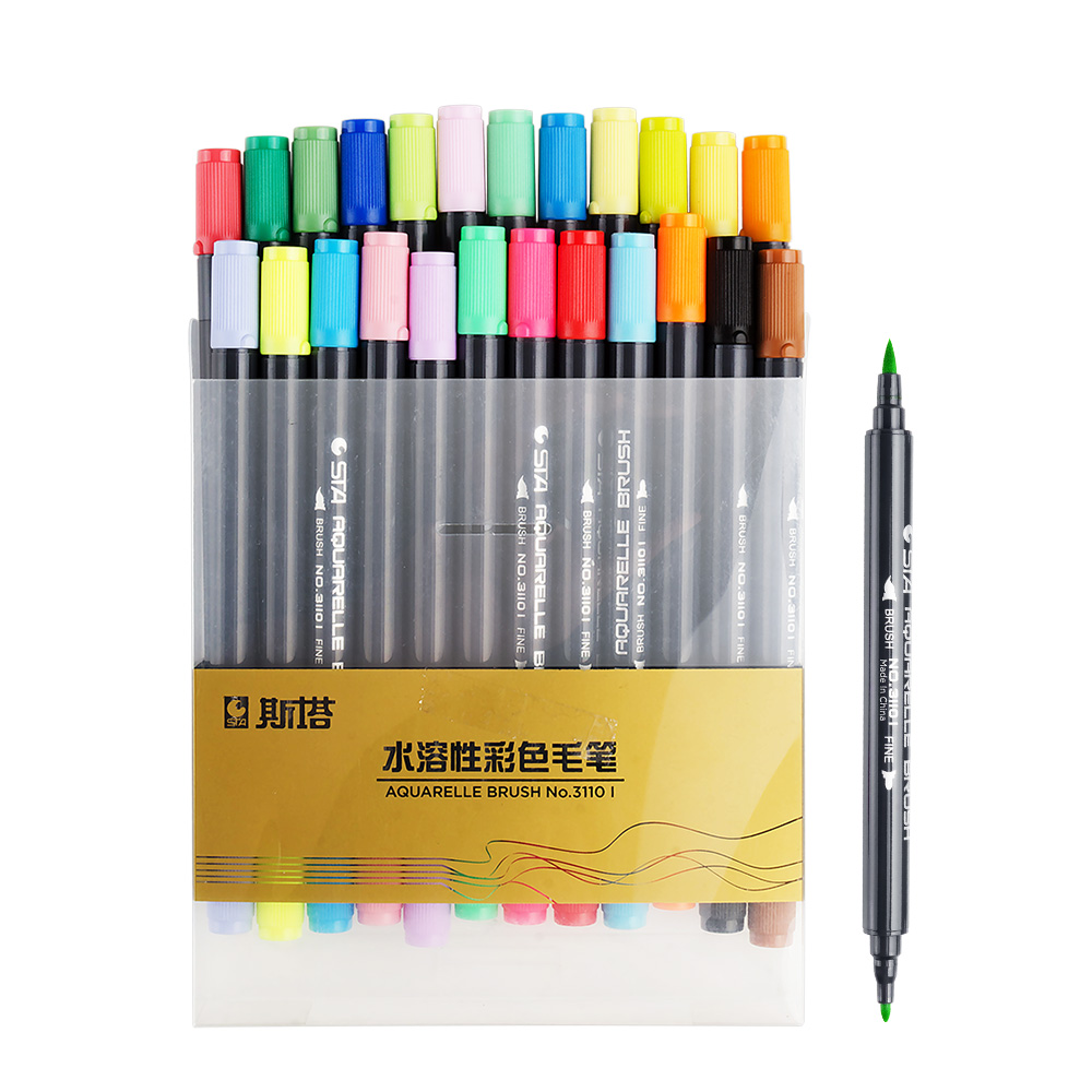 STA 24 Color /set Art and Graphic Drawing Manga Water Based Ink Twin Tip Dual Nip Fabric Marker Brush Sketch Markers Pen