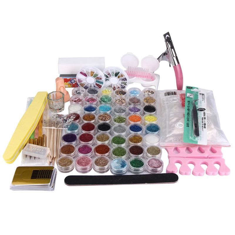 New 48 Pots Acrylic Nail Art False Finger Pump Clipper Brush Set kits Women   2016