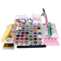 New 48 Pots Acrylic Nail Art False Finger Pump Clipper Brush Set kits Women Beauty 2016