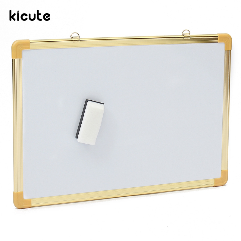 Kicute Double Side Writing Whiteboard Dry Erase Board Magnetic Dry Wipe  Notice Memo Board 40cm*60cm Office Home School Supply 90 106cm onshine adjustable child double side wooden magnetic blackboard whiteboard kids writing drawing toy eraser chalk marker