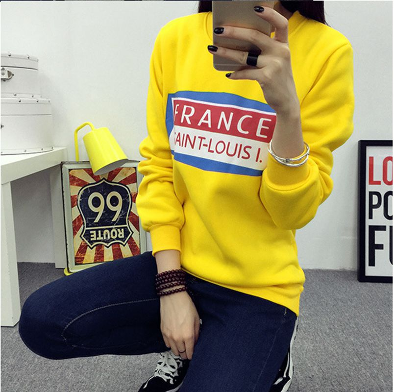 Korean style Autumn/Wnter Fashion Women Tees O-neck Pullover Warm Long sleeve T-shirt Printing Loose Big yards Clothing NZ55