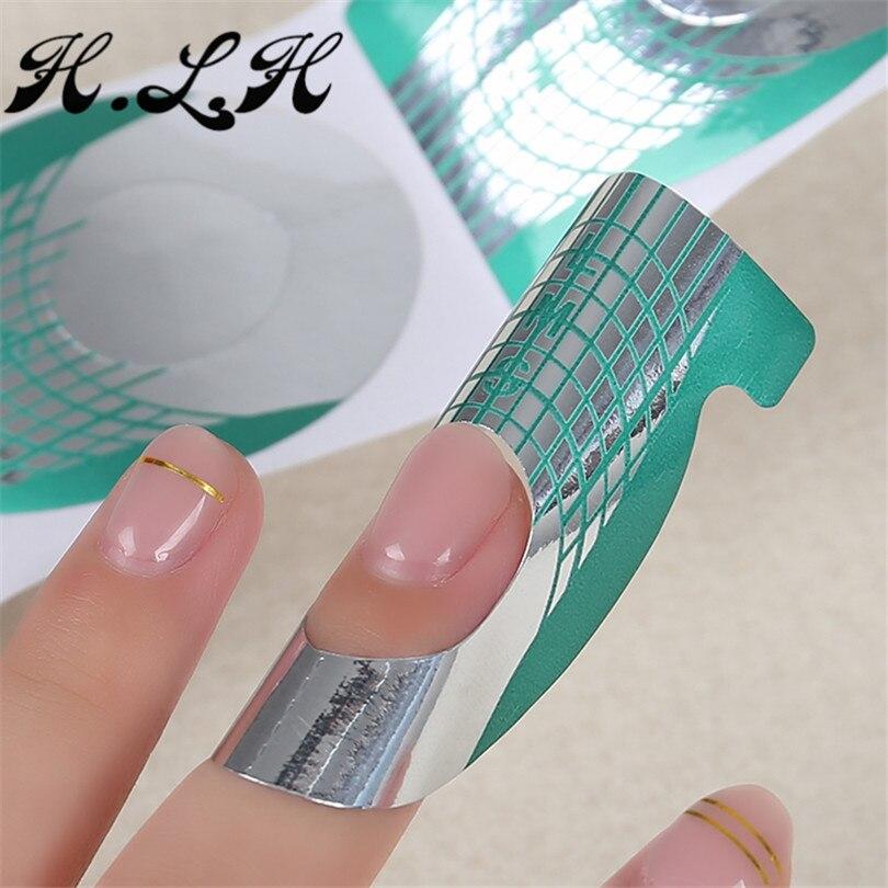 2018 500pcs h l h gel varnish fashion green fish shape nails forms for gel nail art form
