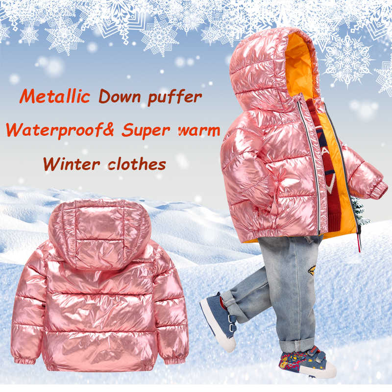 08817e73f ... Winter Jacket for boy girls winter Snowsuit Down Jacket Puffer Parka  Metallic kids Outerwear Warm Children's ...