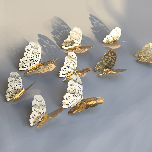 12pcs/set Hollow 3D Butterfly Wall Sticker for Wedding Decoration living room window Home Decor Gold silver Butterflies stickers 5