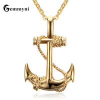 Hot Sale Anchor Necklace Pendant Men Silver Gold Color Titanium Stainless Steel Chain Punk Jewelry Male
