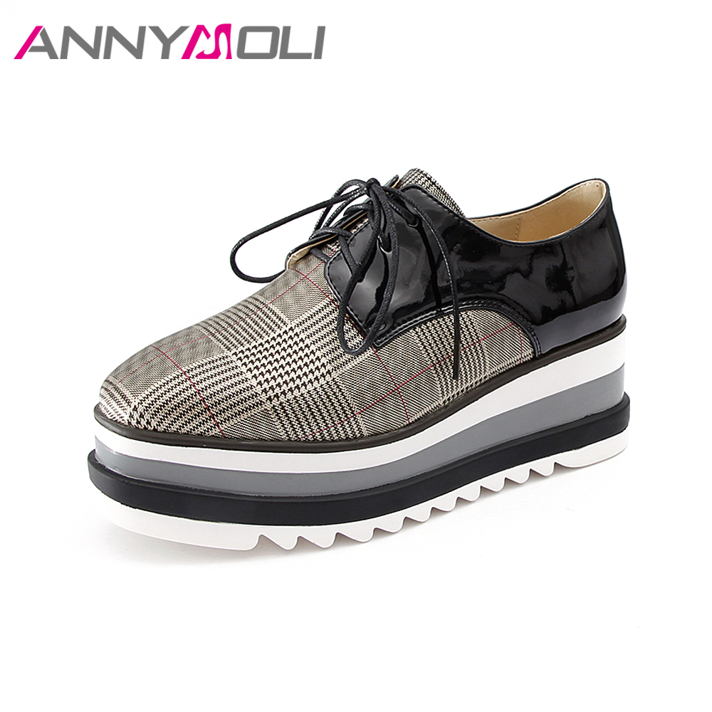 ANNYMOLI 2018 Shoes Women High Heels Pumps Platform Wedges Shoes Spring Plaid Lace Up Autumn Casual Shoes Plus Size 41 42 Pumps 2016 spring autumn women pumps fashion square toe lace up ladies shoes silver platform wedges high heels zapatos mujer 33 40