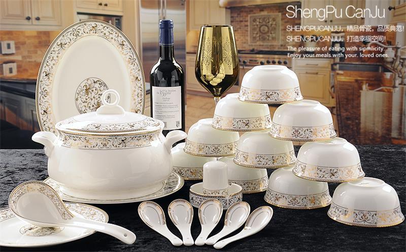 56 点セット、王室の金陶器設計され、ファインボーンチャイナの食器セット、中国食器セットプレート、磁器食器  グループ上の ホーム&ガーデン からの 食器セット の中 1