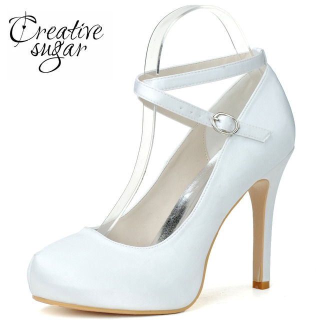 Creativesugar Elegant crossed ankle strap satin woman pumps rounded toe platform  dress shoes bridal wedding party prom everning 052a51cd48ad