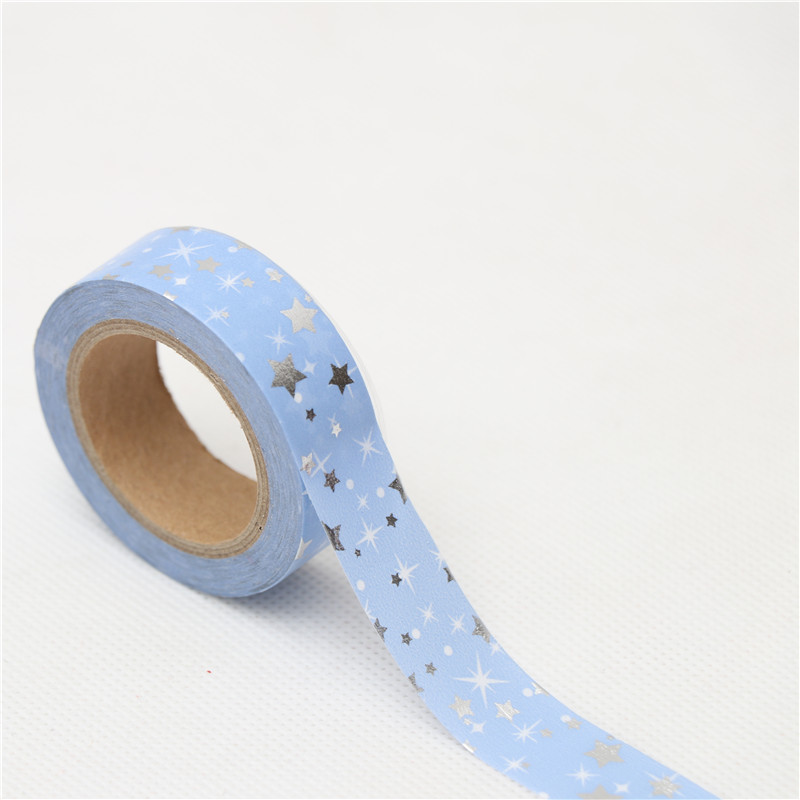 15mm*10m Silver Star Festival Washi Tape Adhesive Tape DIY Scrapbooking Sticker Label Masking Tape