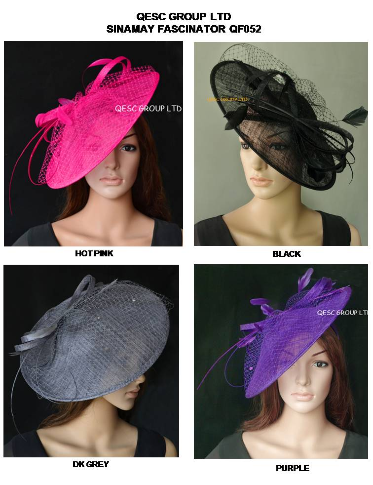 Wholesale Hot pink Purple nude pink ivory new color BIG sinamay hat fascinator for races wedding