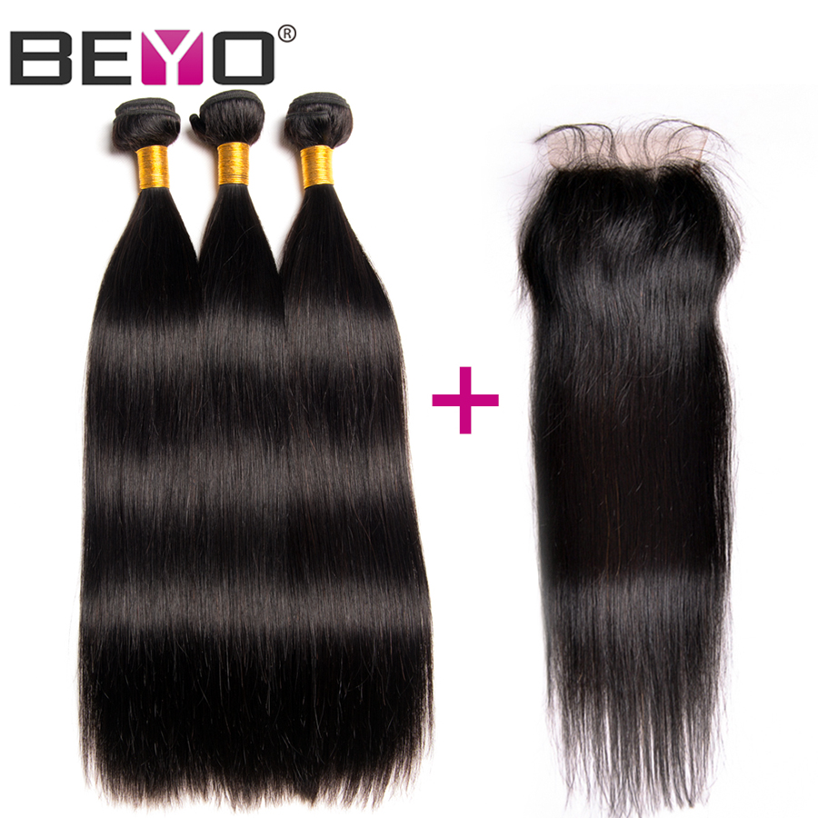 Beyo Malaysian Straight 3 Human Hair Bundles With Closure Lace Closure With Baby Hair Non Remy