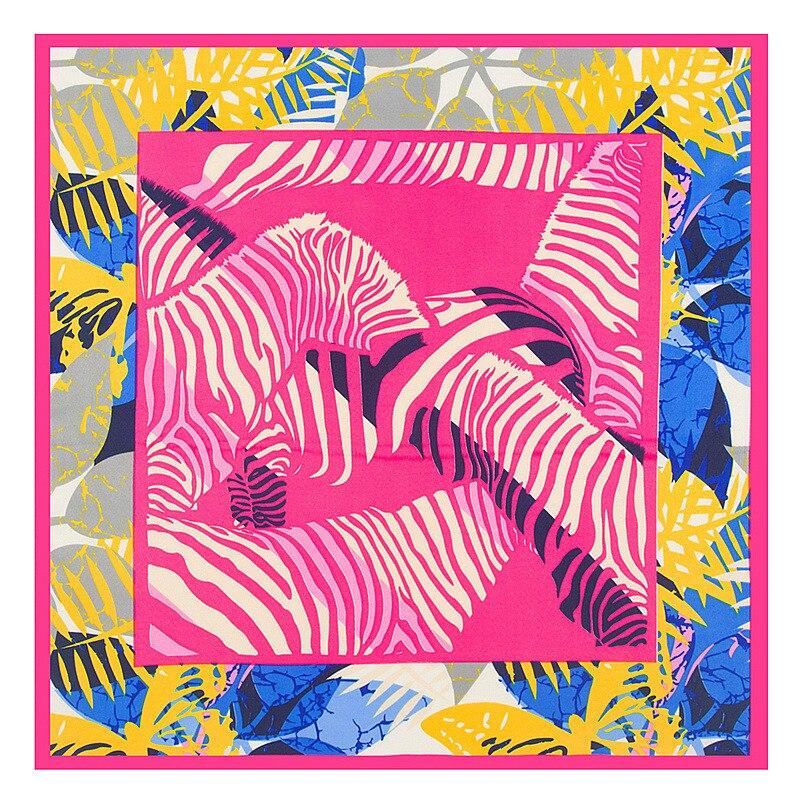 MENGLINXI 60cm*60cm 2020 New Luxury Brand Spring Leaves Women Twill Silk Scarf Small Square Scarves Print Headband Hijab